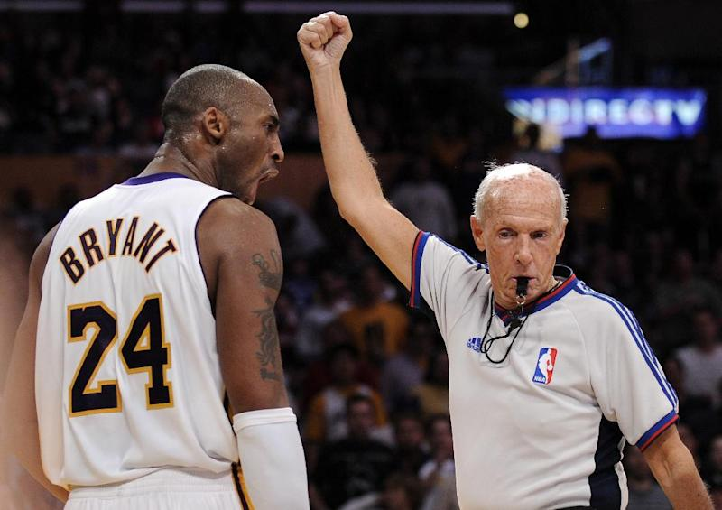 In this March 2, 2008, file photo, Los Angeles Lakers guard Kobe Bryant (24) yells at referee Dick Bavetta as he calls a foul during the second half of an NBA basketball game against the Dallas Mavericks in Los Angeles. Bavetta, 74, tells The Associated Press that it is the right time to leave the game after a 39-year career