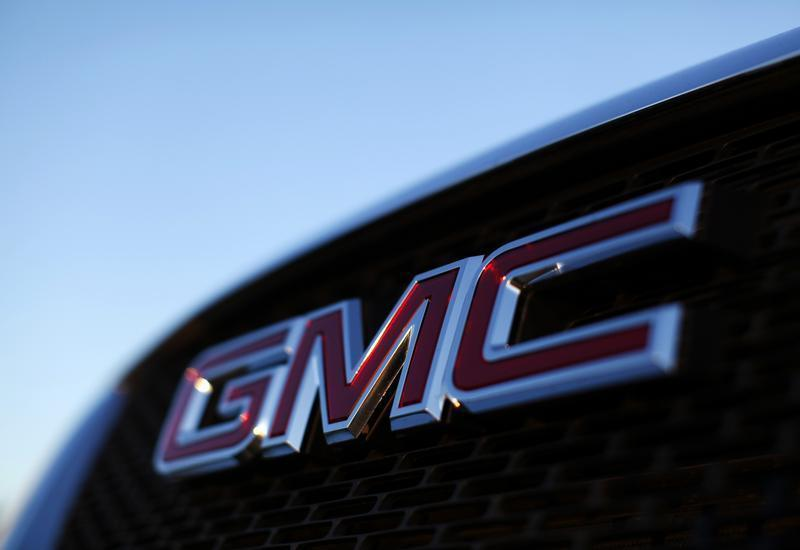 A General Motors logo is seen on a vehicle for sale at the GM dealership in Carlsbad