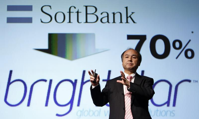 Softbank Corp CEO Son speaks during a news conference in Tokyo