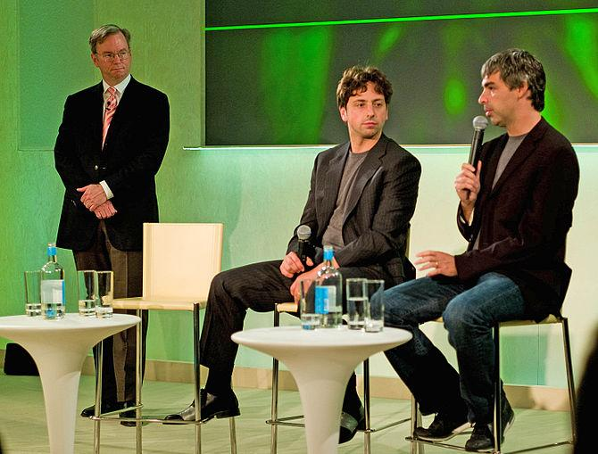 English: Left to right, Eric E. Schmidt, Serge...