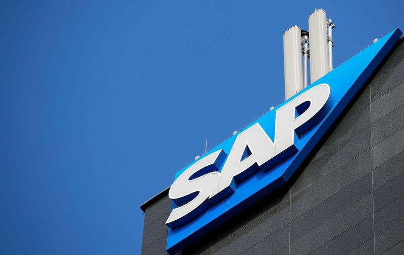 The logo of German software group SAP is pictured in Vienna