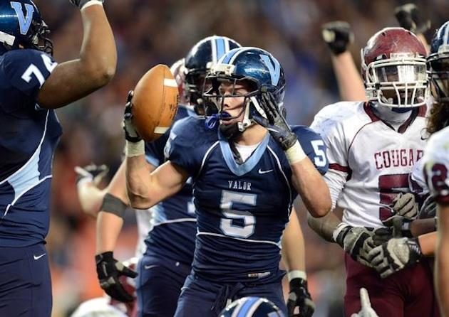 Valor Christian running back Christian McCaffrey celebrates his touchdown in the Colorado Class 5A state title game — Denver Post