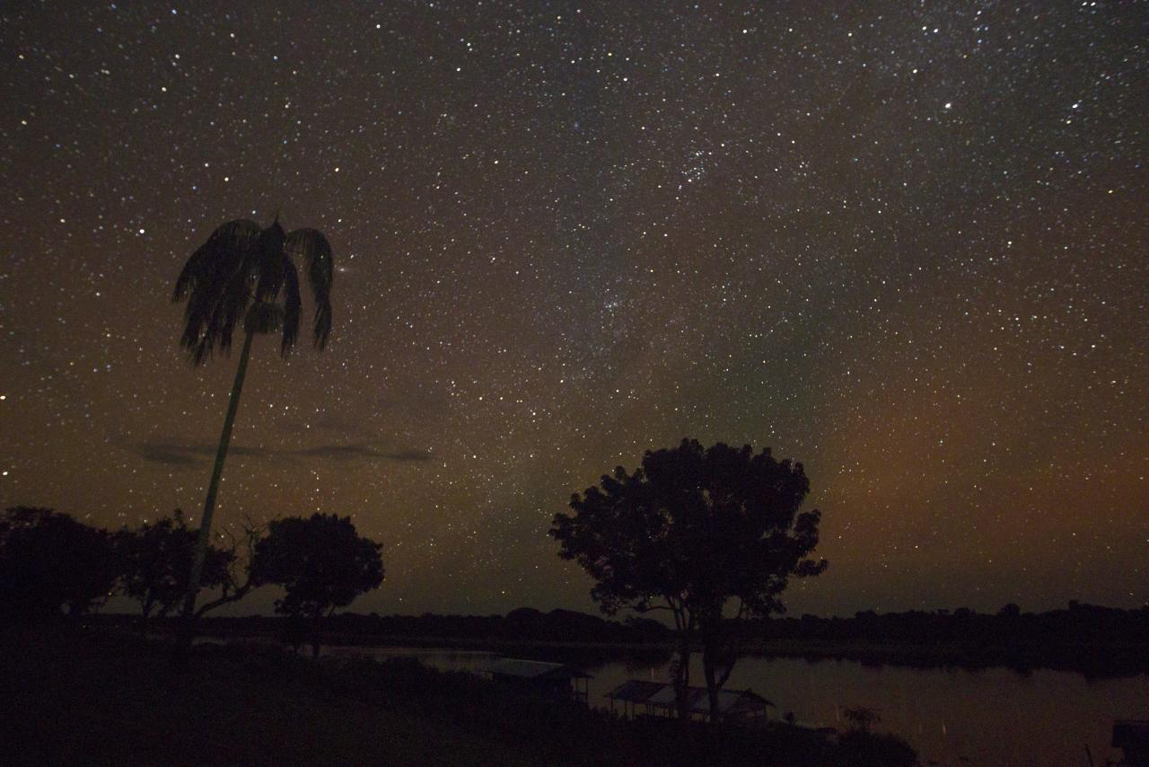 A night view of the Sao Raimundo do Jaraua community along the edge of a tributary of the Solimoes river, one of the main tributaries of the Amazon, where adults fish for arapaima or pirarucu, the largest freshwater fish species in South America and one of the largest in the world, in the Mamiraua nature reserve near Fonte Boa about 600 km (373 miles) west of Manaus, November 27, 2013. Catching the arapaima, a fish that is sought after for its meat and is considered by biologists to be a living fossil, is only allowed once a year by Brazil's environmental protection agency. The minimum size allowed for a fisherman to keep an arapaima is 1.5 meters (4.9 feet). Picture taken November 27, 2013. REUTERS/Bruno Kelly (BRAZIL - Tags: ANIMALS ENVIRONMENT SOCIETY)  ATTENTION EDITORS: PICTURE 01 OF 22 FOR PACKAGE 'FISHING FOR BRAZIL'S FOSSILS'. TO FIND ALL IMAGES SEARCH 'ARAPAIMA KELLY'