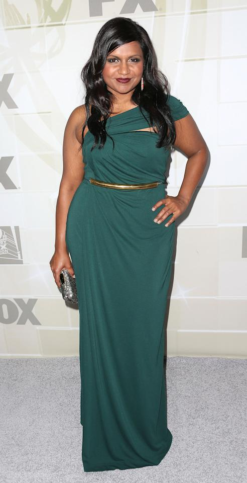 LOS ANGELES, CA - SEPTEMBER 23:  Actress Mindy Kaling attends the Fox Broadcasting Company, Twentieth Century Fox Television And FX Celebrates Their 2012 Emmy Nominees at Soleto on September 23, 2012 in Los Angeles, California.  (Photo by Frederick M. Brown/Getty Images)