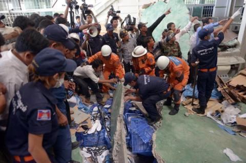 Two dead in Cambodia shoe factory collapse