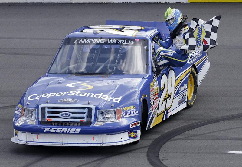 Blaney's pass in final turn wins Truck Series race