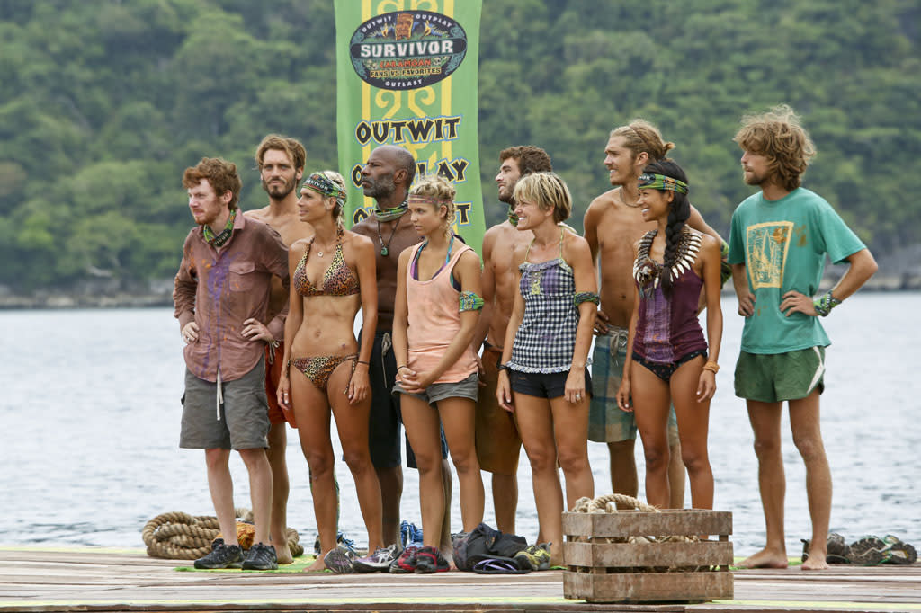 """Zipping Over the Cuckoo's Nest"" - The tribe lines up before the Immunity Challenge during the tenth episode of ""Survivor: Caramoan - Fans vs. Favorites."""