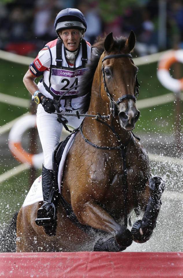 Mary King of Germany rides Imperial Cavalier as she competes in the equestrian eventing cross country phase at Greenwich Park, at the 2012 Summer Olympics, Monday, July 30, 2012, in London. (AP Photo/Markus Schreiber)