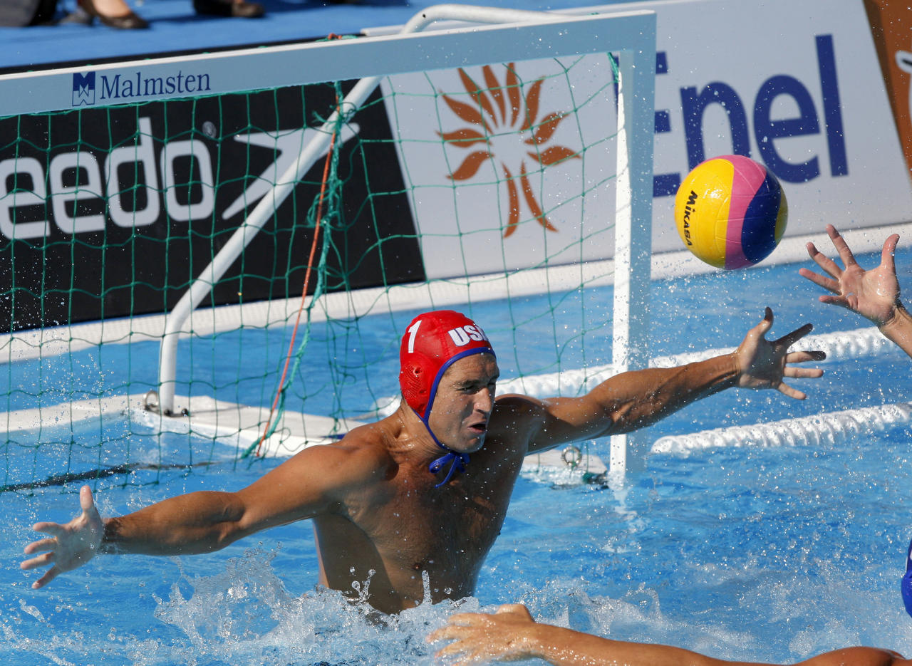 US goalkeeper Merrill Moses concedes the winning goal during the Men's Water Polo bronze medal match between the United States and Croatia, at the FINA Swimming World Championships in Rome, Saturday, Aug. 1, 2009. Croatia defeated the US team by 8-6. (AP Photo/Michael Sohn)