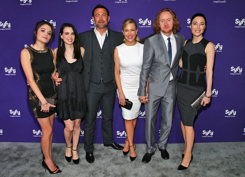 """Stephanie Leonidas, Mia Kirshner, Grant Bowler, Julie Benz, Tont Curran and Jaime Murray (""""Defiance"""") attend the Syfy 2013 Upfront at Silver Screen Studios at Chelsea Piers on April 10, 2013 in New York City."""