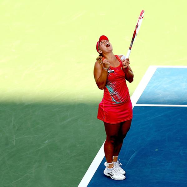 MASON, OH - AUGUST 17:  Angelique Kerber of Germany celebrates match point against Serena Williams during the Western & Southern Open at the Lindner Family Tennis Center on August 17, 2012 in Mason, Ohio.  (Photo by Matthew Stockman/Getty Images)