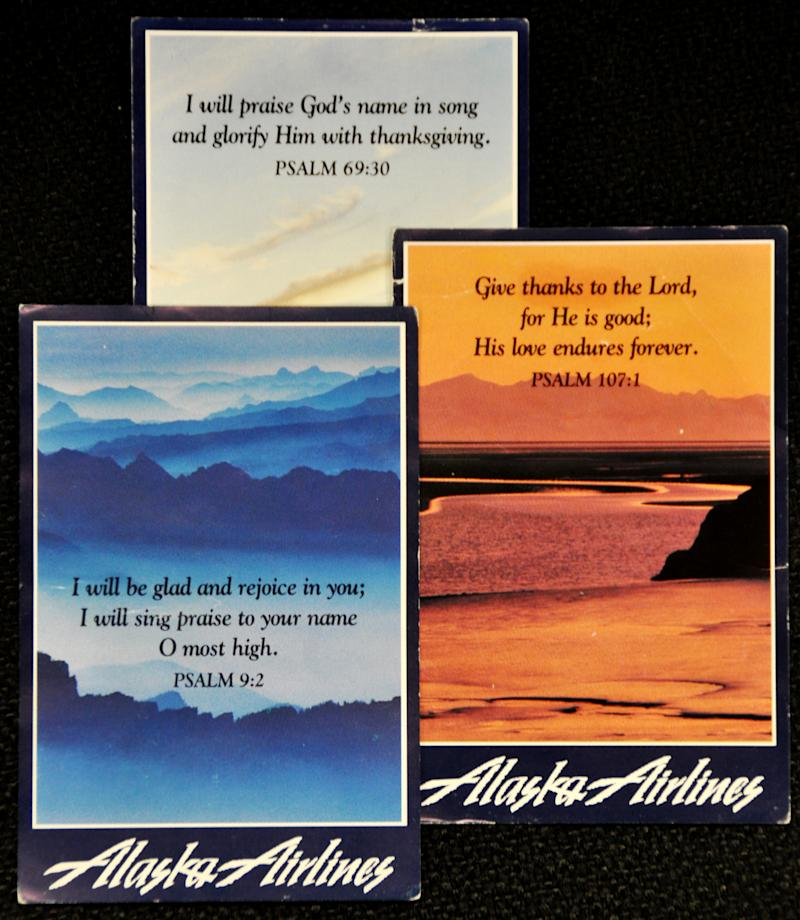 Alaska Airlines retiring meal tray prayer cards