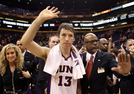PHOENIX, AZ - APRIL 25:  Steve Nash #13 of the Phoenix Suns waves to fans as he walks off the court following the NBA game against the San Antonio Spurs at US Airways Center on April 25, 2012 in Phoenix, Arizona.  The Spurs defeated the Suns 110-106.  (Photo by Christian Petersen/Getty Images)