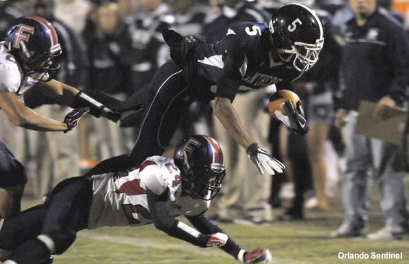 Dr. Phillips wide receiver Trey Griffey in action against Freedom