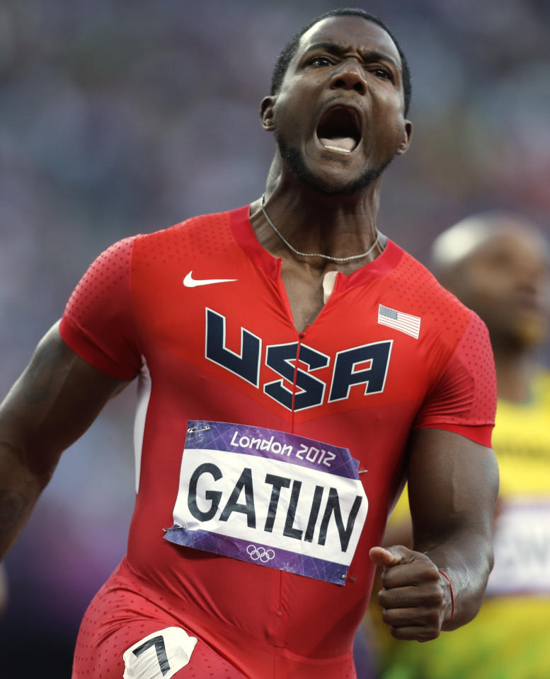 United States' Justin Gatlin during the athletics in the Olympic Stadium at the 2012 Summer Olympics, London, Sunday, Aug. 5, 2012. (AP Photo/Anja Niedringhaus)
