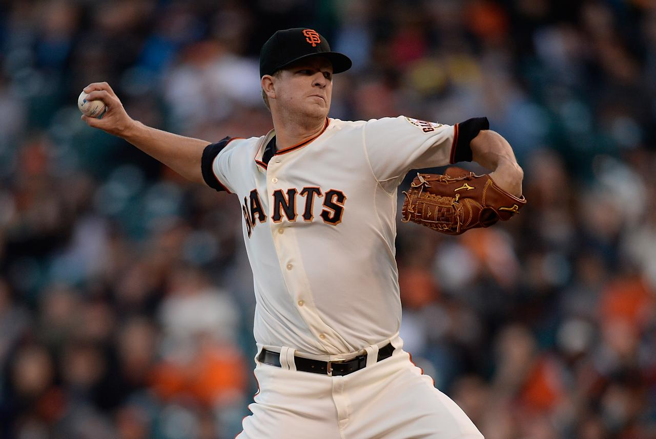 SAN FRANCISCO, CA - APRIL 23:  Matt Cain #18 of the San Francisco Giants pitches against the Arizona Diamondbacks in the first inning at AT&T Park on April 23, 2013 in San Francisco, California.  (Photo by Thearon W. Henderson/Getty Images)
