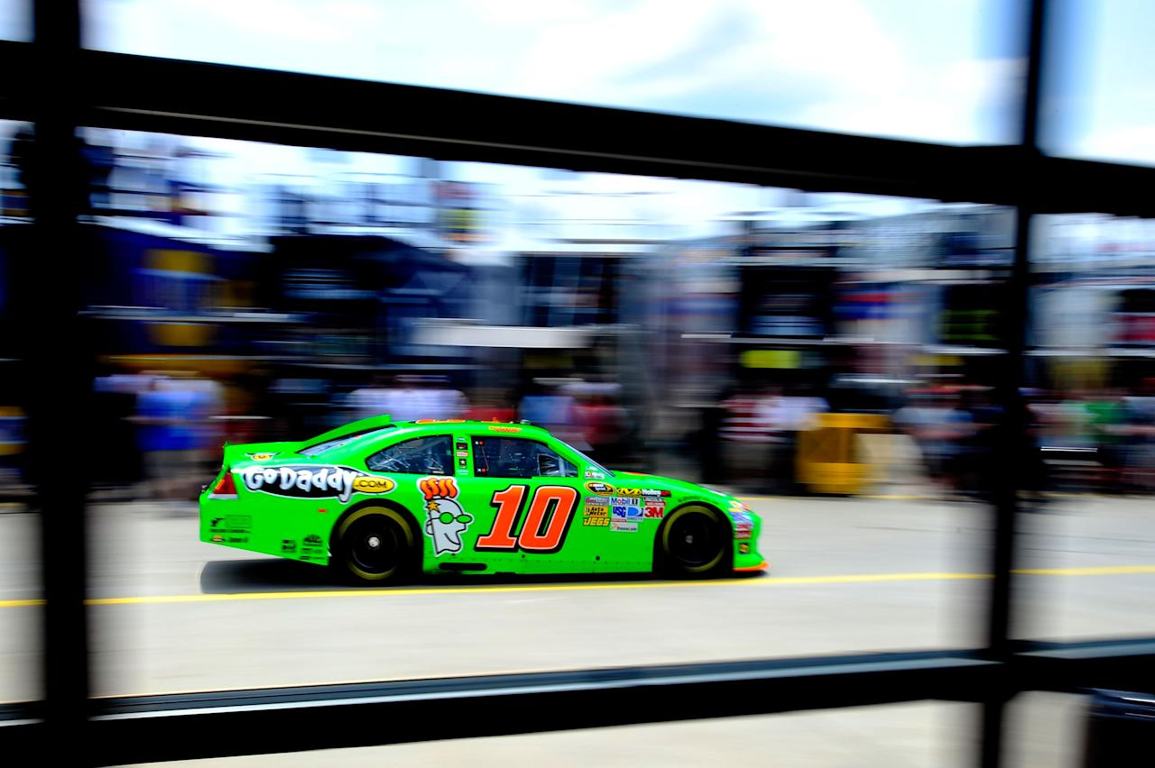 CONCORD, NC - MAY 26:  Danica Patrick drives the #10 GoDaddy.com Chevrolet through the garage area during practice for the NASCAR Sprint Cup Series Coca-Cola 600 at Charlotte Motor Speedway on May 26, 2012 in Concord, North Carolina.  (Photo by Jamey Price/Getty Images for NASCAR)