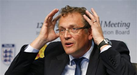 FIFA Secretary General Valcke gestures as he addresses a news conference after a meeting of the IFAB in Zurich