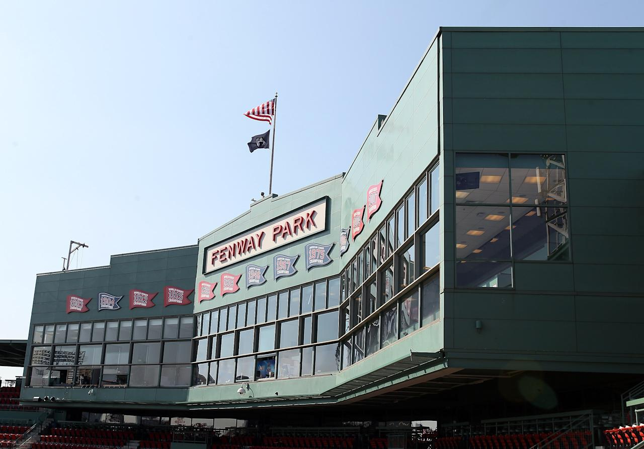 BOSTON, MA - APRIL 20: A view of the Fenway Park press box before the game between the New York Yankees and the Boston Red Sox on April 20, 2012 at Fenway Park in Boston, Massachusetts. Today marks the 100 year anniversary of the ball park's opening.  (Photo by Elsa/Getty Images)