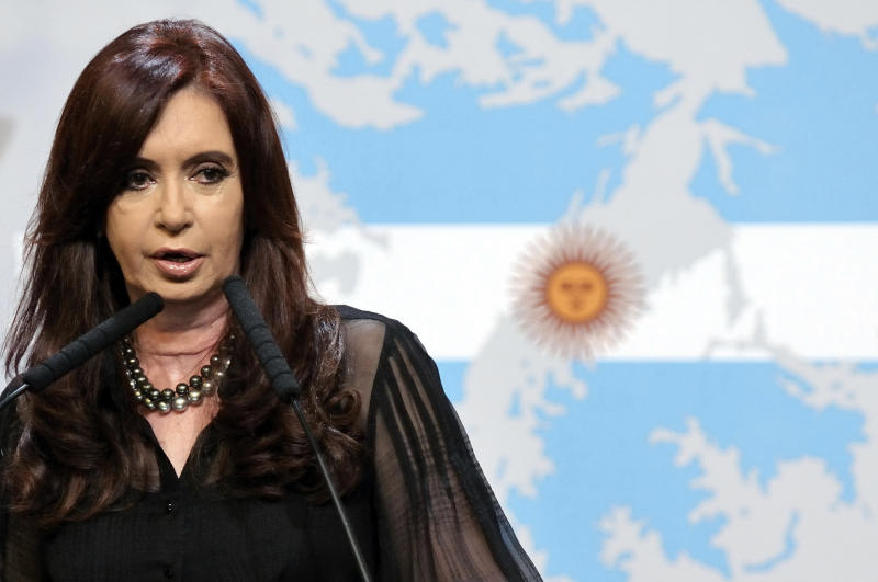 "BUENOS AIRES, ARGENTINA - FEBRUARY 07: The president of Argentina, Cristina Fernandez de Kirchner submitted a formal complaint to the ONU for the ""militarization being conducted by Britain,"" in the area. In addition, she decreed that in 30 days the report Rattenbach must be open, on February 07, 2012, in Buenos Aires, Argentina. (Photo by Charly Diaz Azcue/LatinContent/Getty Images)"
