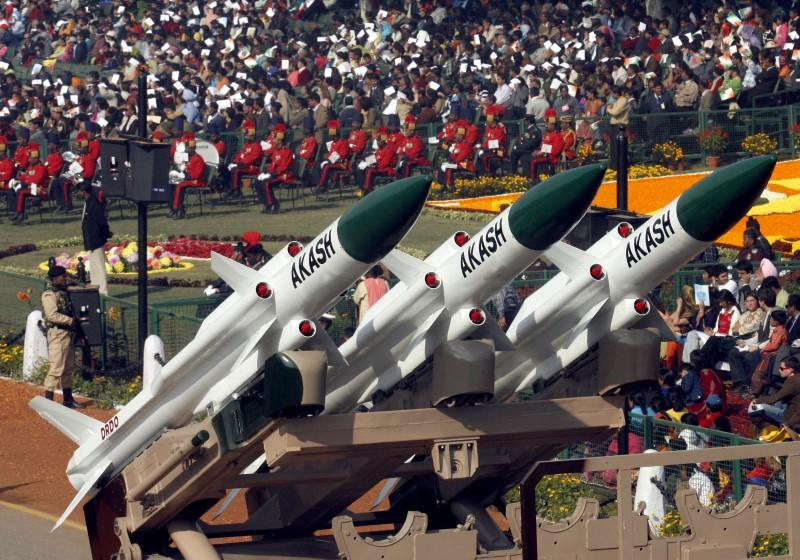 "India's ""Akash"" missiles are displayed during the Republic Day parade in New Delhi"