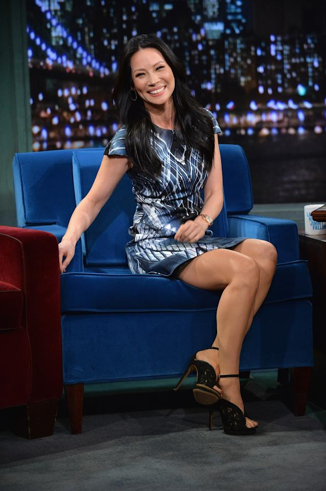 "NEW YORK, NY - NOVEMBER 05: Lucy Liu visits ""Late Night With Jimmy Fallon"" at Rockefeller Center on November 5, 2013 in New York City. (Photo by Theo Wargo/Getty Images)"