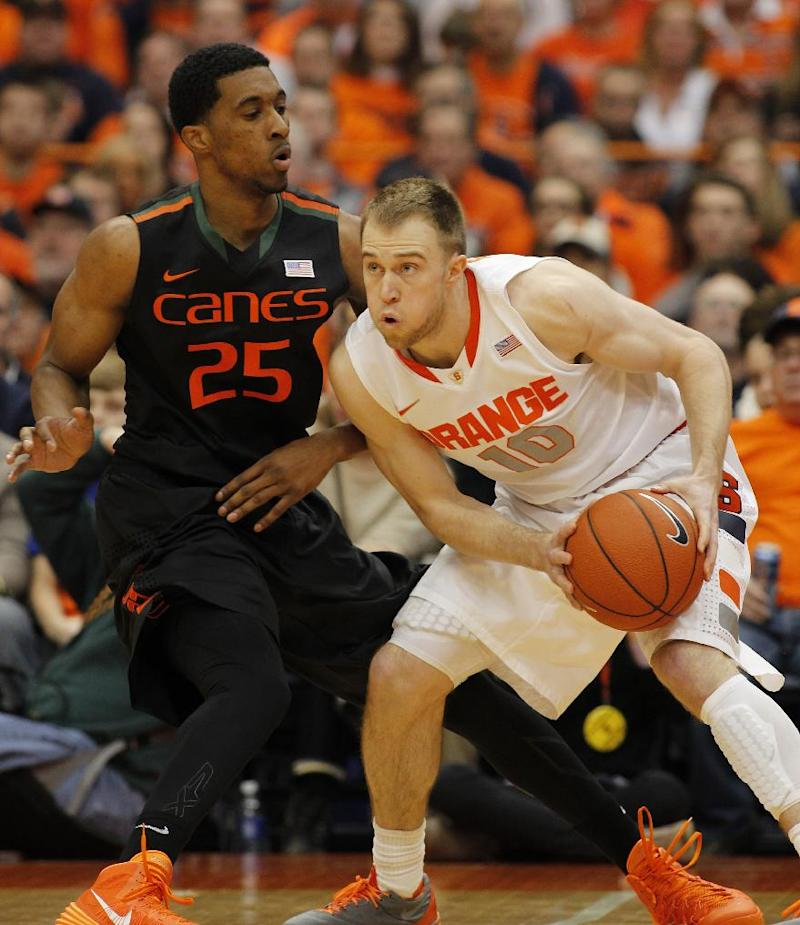 No. 2 Syracuse beats Miami 49-44 in ACC opener