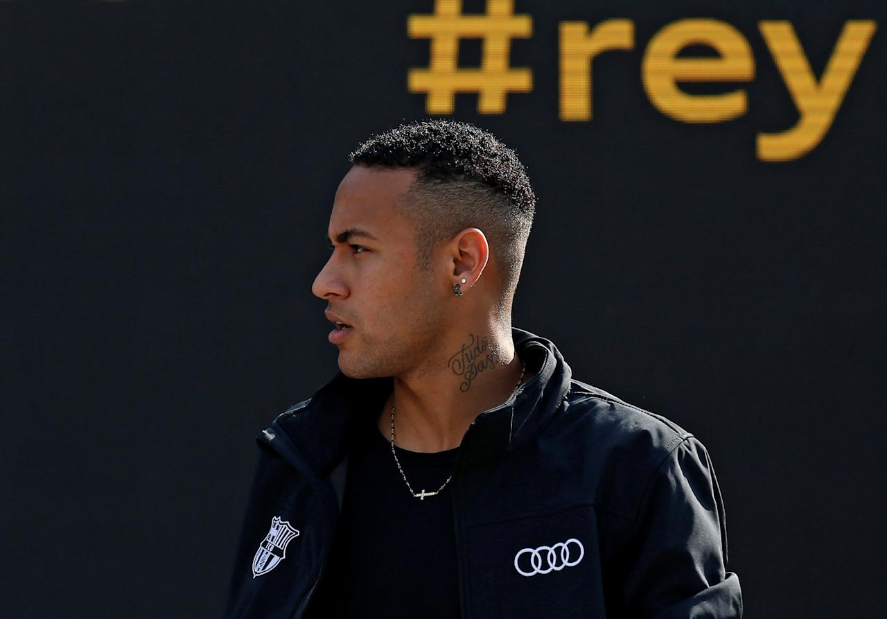 Barcelona's soccer player Neymar takes part in a commercial event near Camp Nou stadium in Barcelona, Spain October 27, 2016. REUTERS/Albert Gea