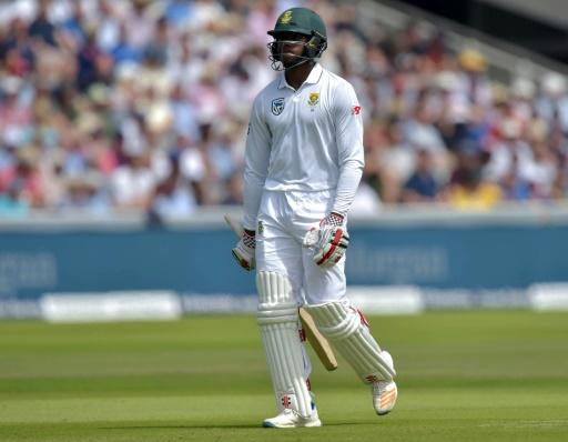 South Africa's Kagiso Rabada leaves the field after losing his wicket for 28 on the third day of their first Test match against England, at Lord's Cricket Ground in London, on July 8, 2017