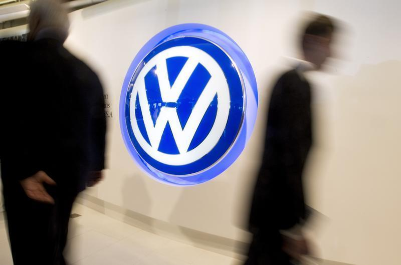 A Volkswagen logo sign is seen inside the lobby of the U.S. headquarters building of Volkswagen Group of America in Herndon