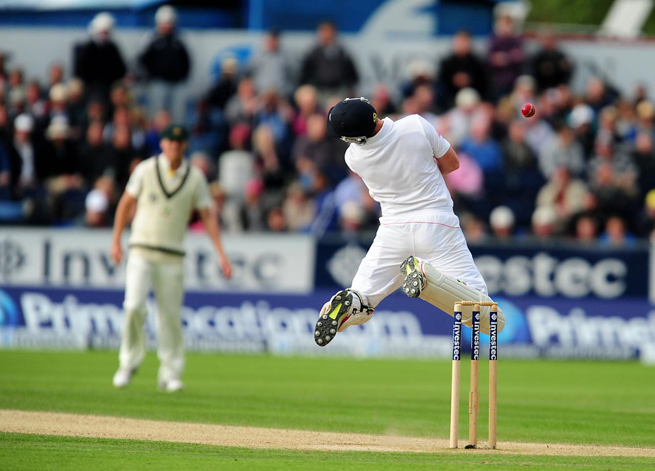 England's Ian Bell is knocked over by a ball from Australia's Ryan Harris during day three of the Fourth Investec Ashes test match at the Emirates Durham ICG, Durham.