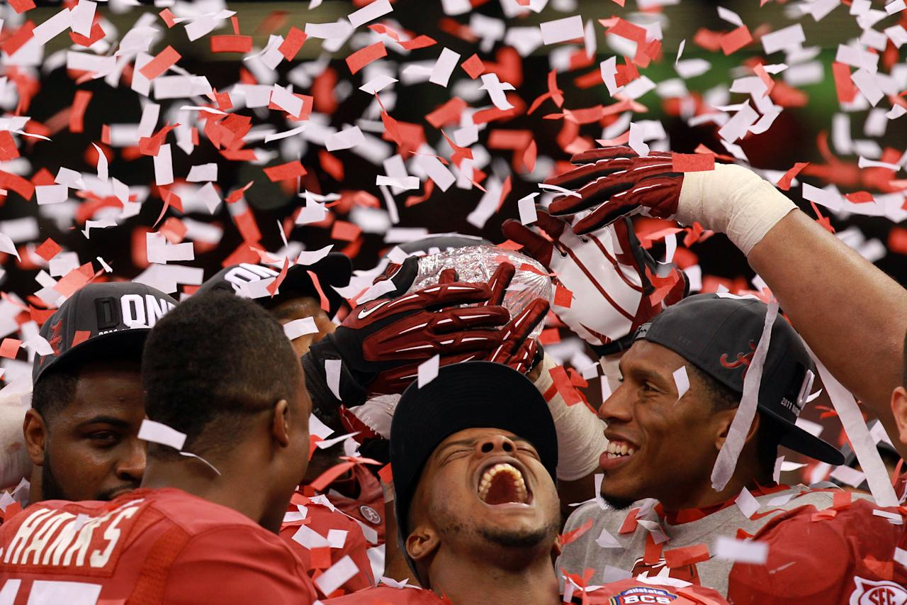 NEW ORLEANS, LA - JANUARY 09:  Marquis Maze #4 of the Alabama Crimson Tide after defeating Louisiana State University Tigers in the 2012 Allstate BCS National Championship Game at Mercedes-Benz Superdome on January 9, 2012 in New Orleans, Louisiana. Alabama  won the game by a score of 22-0.  (Photo by Ronald Martinez/Getty Images)
