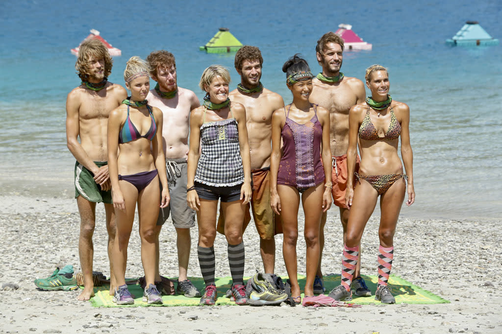 """The Beginning of the End"" - The tribe lines up before the Immunity Challenge during the twelfth episode of ""Survivor: Caramoan - Fans vs. Favorites."""