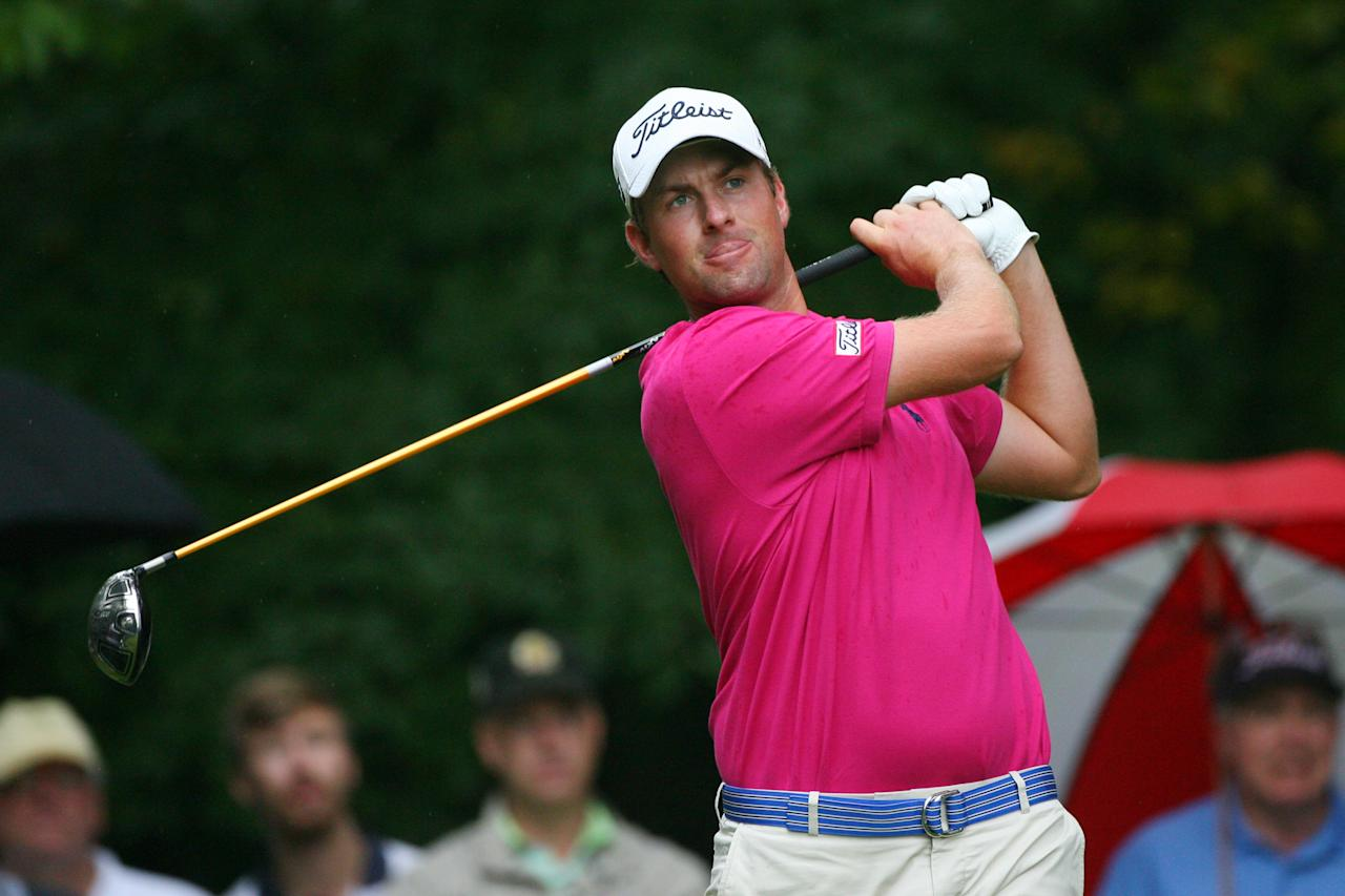 GREENSBORO, NC - AUGUST 19: Webb Simpson hits his tee shot on the second hole during the final round of the Wyndham Championship at Sedgefield Country Club on August 19, 2012 in Greensboro, North Carolina. (Photo by Hunter Martin/Getty Images)
