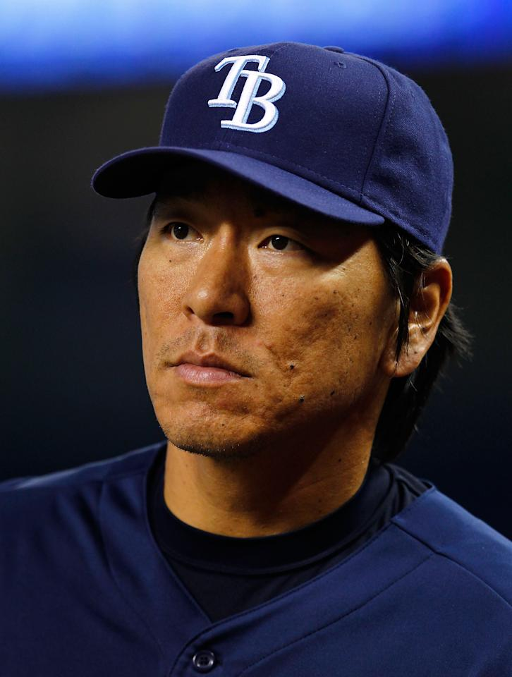 MIAMI, FL - JUNE 08:  Hideki Matsui #35 of the Tampa Bay Rays looks on during batting practice before a game against the Miami Marlins at Marlins Park on June 8, 2012 in Miami, Florida.  (Photo by Sarah Glenn/Getty Images)