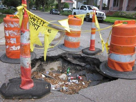 pothole traffic cones street