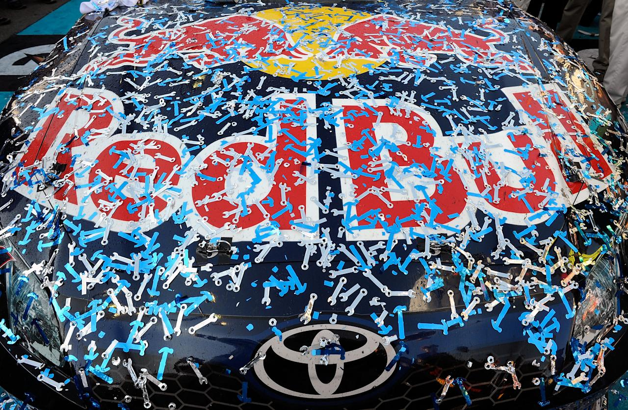 AVONDALE, AZ - NOVEMBER 13:  A view of the #4 Red Bull Toyota, in victory lane after Kasey Kahne drove to victory in the NASCAR Sprint Cup Series Kobalt Tools 500 at Phoenix International Raceway on November 13, 2011 in Avondale, Arizona.  (Photo by Jared C. Tilton/Getty Images for NASCAR)