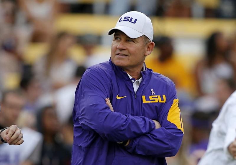 Les Miles was fired as LSU coach on Sunday. (AP Photo/Gerald Herbert, File)