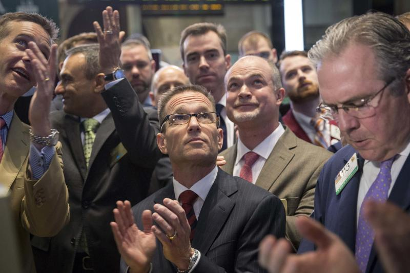 Goldberg, La Quinta's President and CEO, celebrates the IPO of his hotel chain, La Quinta Holdings, on the floor of the New York Stock Exchange