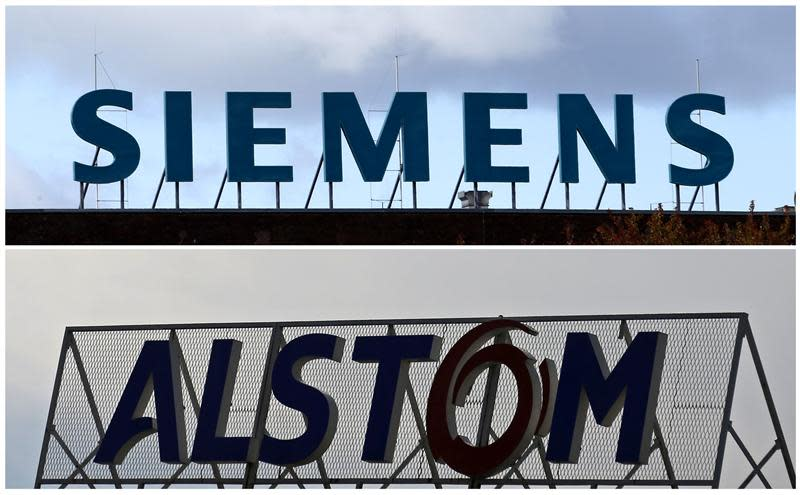 A combination of two file photographs shows the logos of Siemens AG company in Berlin and of French power and transport engineering company Alstom in Reichshoffen
