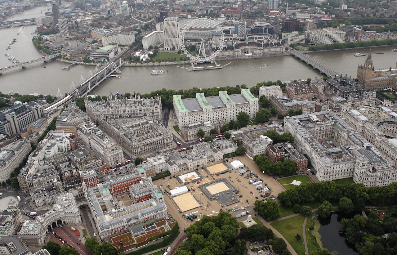 LONDON, ENGLAND - JULY 26:  Aerial view of Horseguards Parade which will host Beach Volleyball events during the London 2012 Olympic Games on July 26, 2011 in London, England.  (Photo by Tom Shaw/Getty Images)