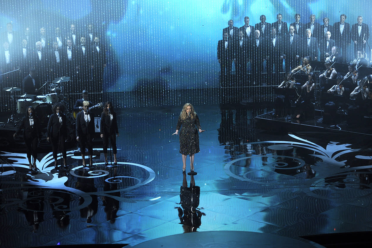 <b>11. Adele - $13,906,635.76</b><br><br>Singer Adele performs during the Oscars at the Dolby Theatre in Los Angeles.