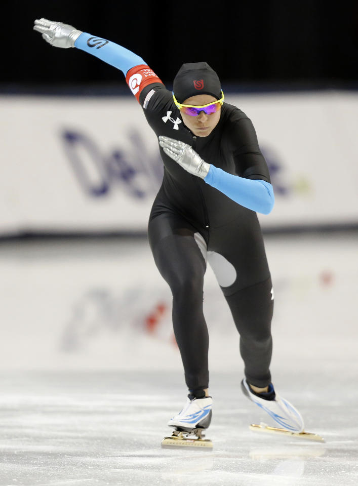 Dec 31, 2013; Kearns, UT, USA; Second place finisher Brittany Bowe competes in the women's 1500m during the U.S. Olympic speedskating trials at Utah Olympic Oval. (Jim Urquhart-USA TODAY Sports)