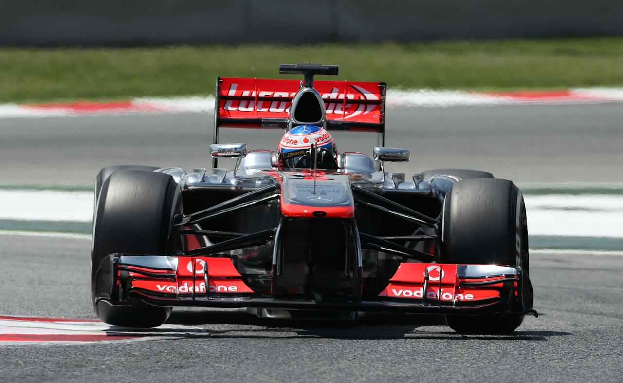 McLaren Mercedes' Jenson Button during qualifying at the Circuit de Catalunya, Barcelona.