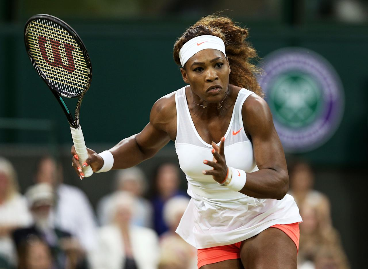 LONDON, ENGLAND - JUNE 29: Serena Williams of the United States of America in action during the Ladies' Singles third round match against Kimiko Date-Krumm of Japan on day six of the Wimbledon Lawn Tennis Championships at the All England Lawn Tennis and Croquet Club on June 29, 2013 in London, England. (Photo by Clive Brunskill/Getty Images)