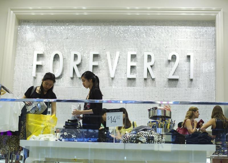 Women shop in a store run by clothing retailer Forever 21 in New York