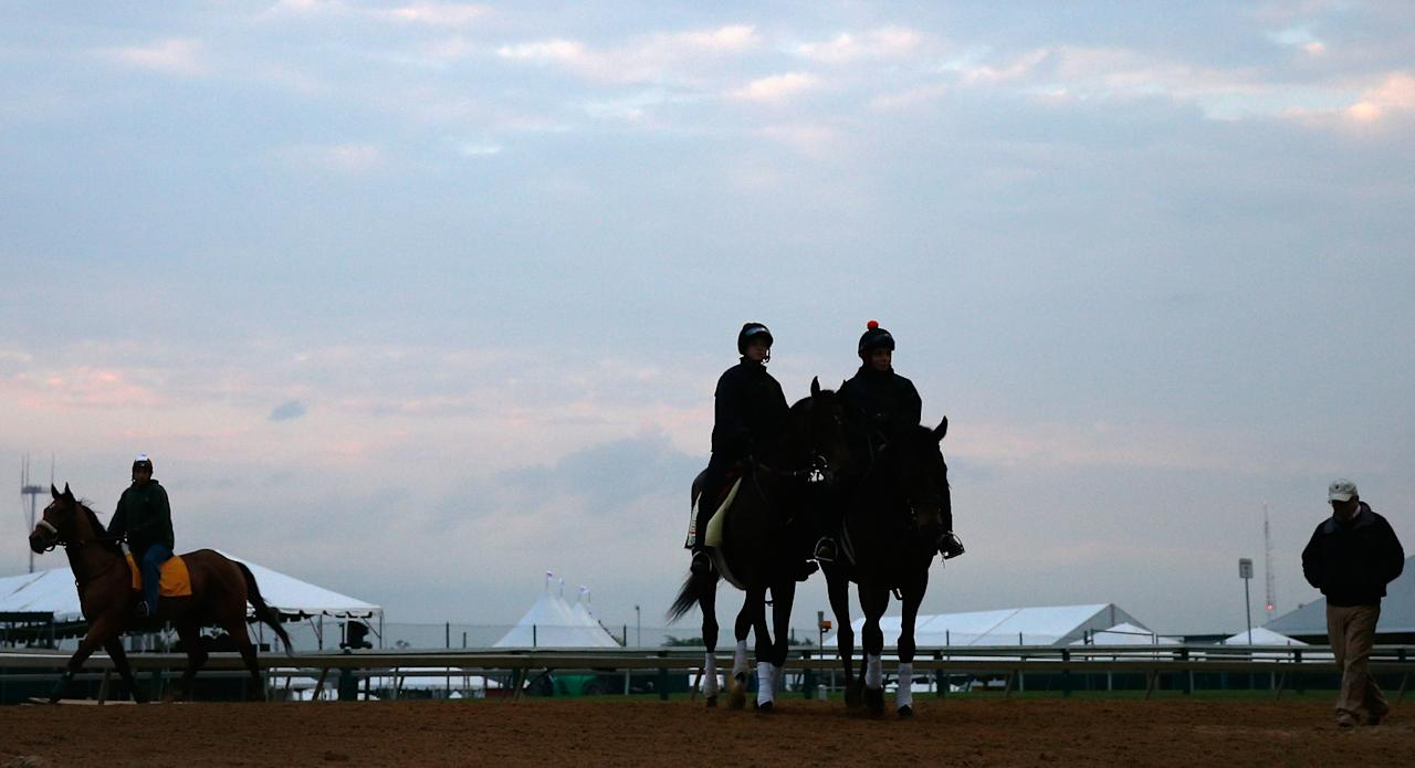 BALTIMORE, MD - MAY 15: A horse jogs on the track (L) as exercise rider Jennifer Patterson aboard Kentucky Derby winner Orb (C) walks off the track with trainer Shug McGaughey (R) following a light workout on the track in preparation for the 138th Preakness Stakes at Pimlico Race Course on May 15, 2013 in Baltimore, Maryland.  (Photo by Rob Carr/Getty Images)