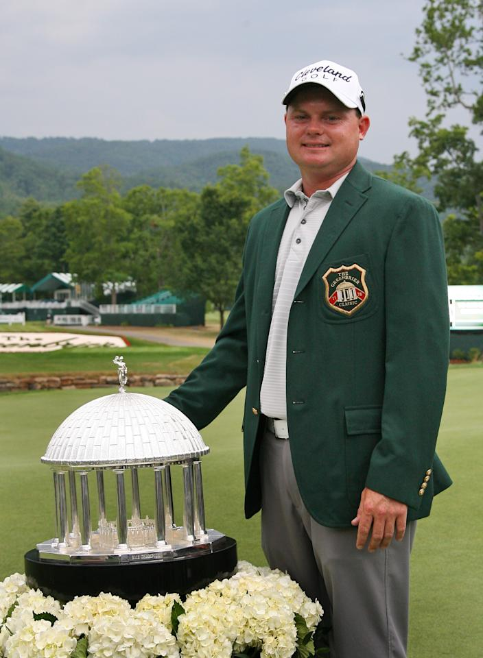WHITE SULPHUR SPRINGS, WV - JULY 8: Ted Potter, Jr. stands with the championship trophy after winning the Greenbrier Classic at the Old White TPC on July 8, 2012 in White Sulphur Springs, West Virginia. (Photo by Hunter Martin/Getty Images)