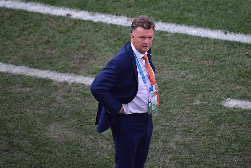 Netherlands' coach Louis van Gaal looks on during a match between Netherlands and Chile at the Corinthians Arena in Sao Paulo during the 2014 FIFA World Cup on June 23, 2014