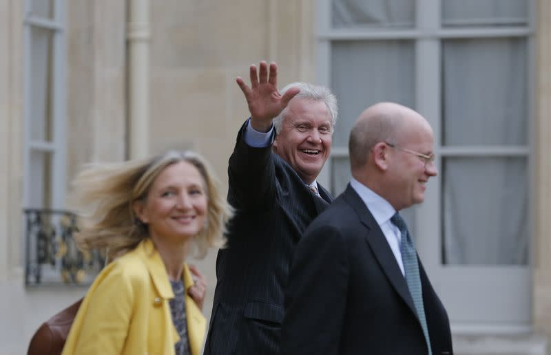 General Electric Chairman and CEO Immelt and staff leave after a meeting with French President at the Elysee Palace in Paris